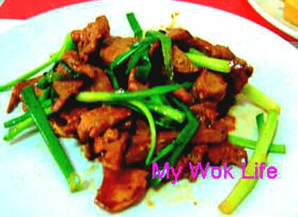 Pig's liver with spring onion