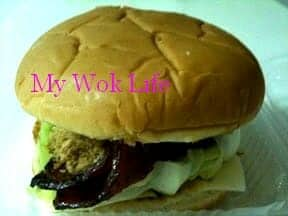 Bak Kwa and pork floss Burger