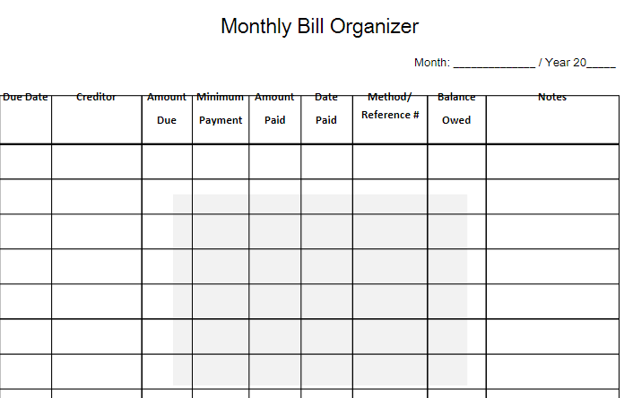 monthly bill template free