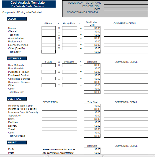 Cost Analysis Template Free Word Templates