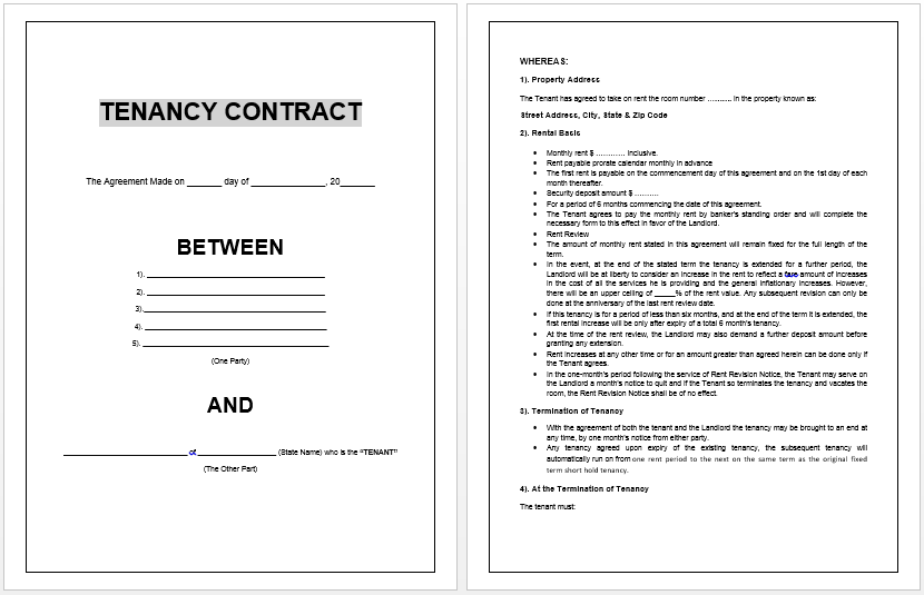 tenant contract template