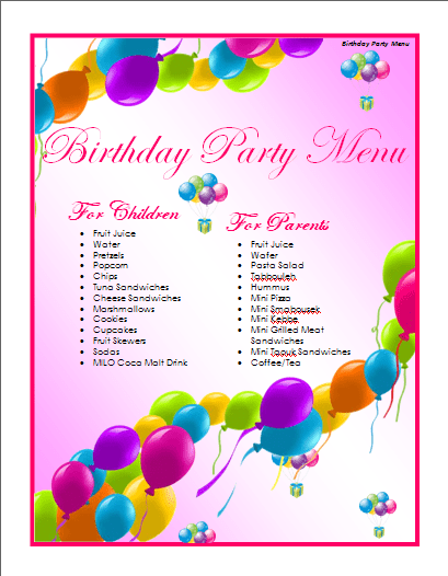 Birthday Menu Template  Microsoft Word Templates