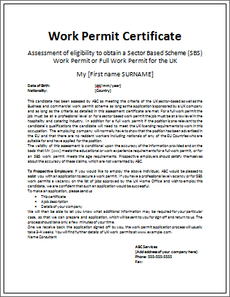 Work Certificate Example | Microsoft Word Templates