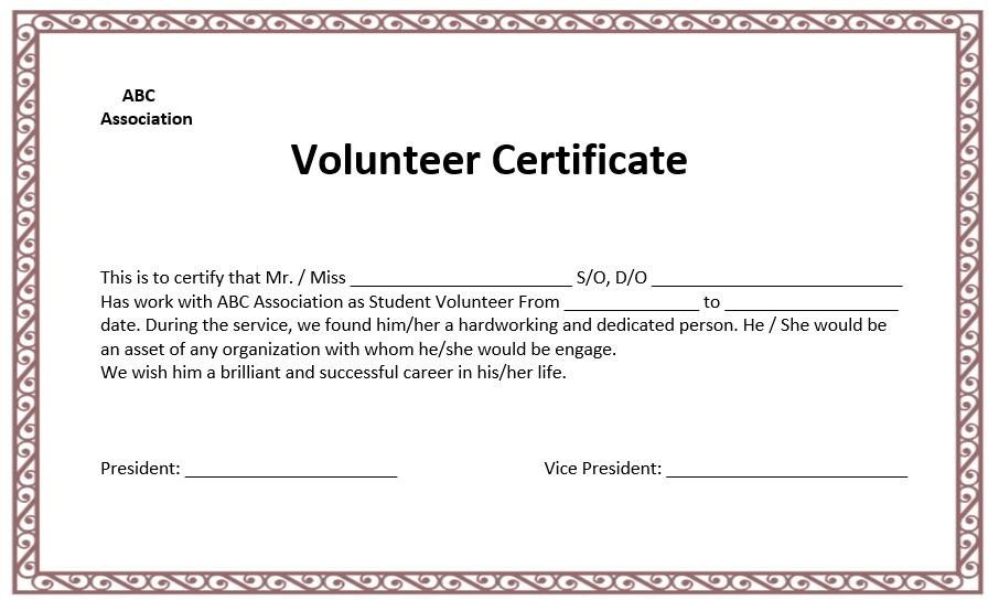 volunteer certificate templates for word