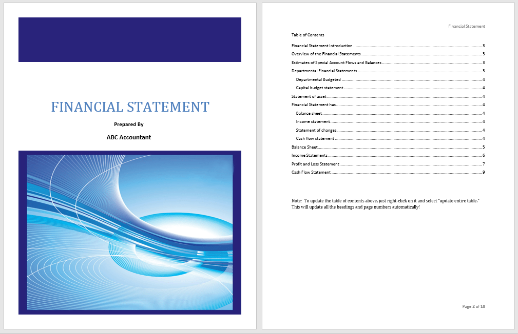Financial Statement Template - Microsoft Word Templates