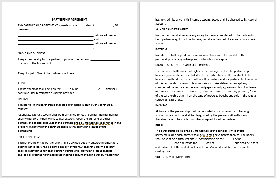 free partnership agreement contract