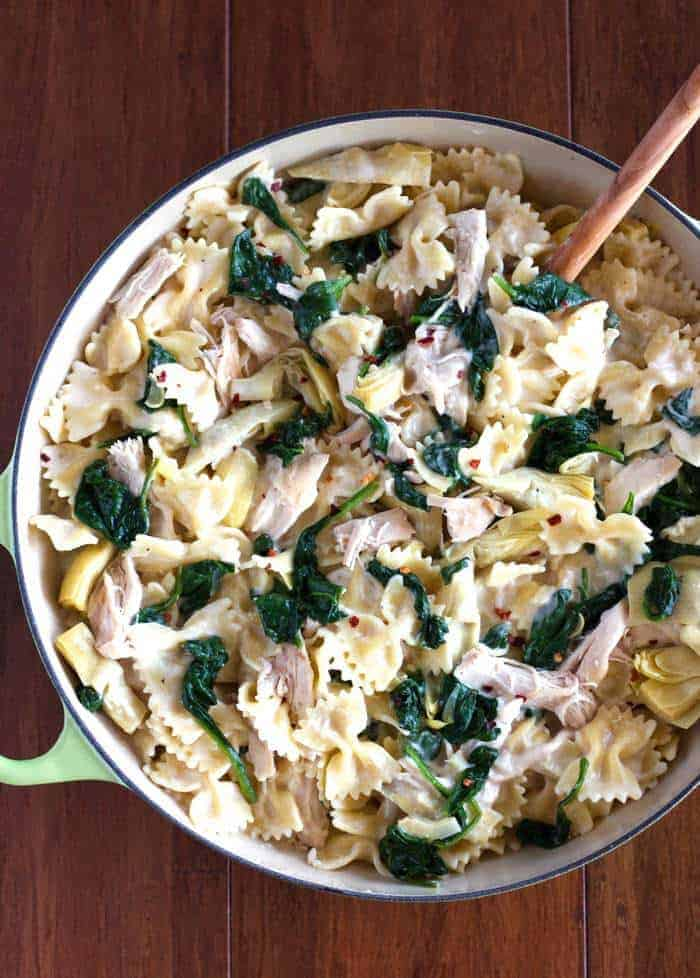 This Spinach Artichoke Chicken Pasta is so quick, easy, creamy and delicious!