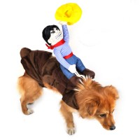 Xmas Costume Pet Puppy Dog Cat Cowboy Rider Coat Clothes ...
