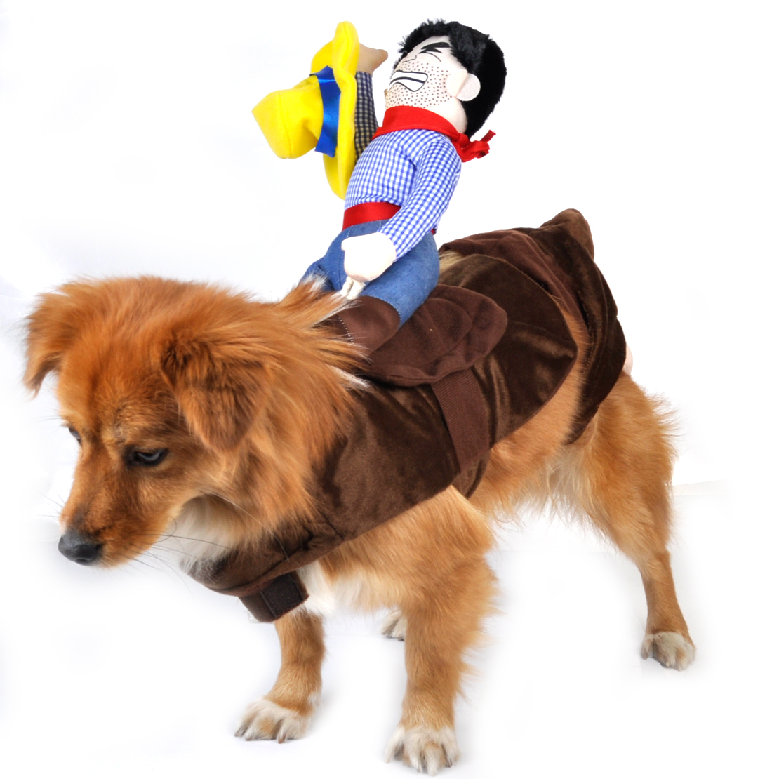 Pet Dog Rider Costume Cowboy Knight Puppy Cat Coat Rider