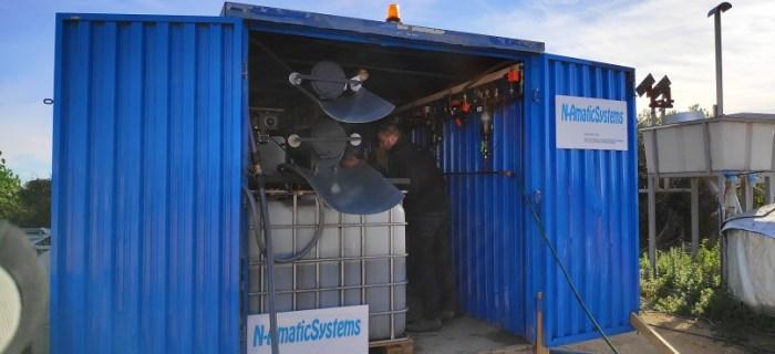 Sistema de tratamiento de purines en contenedor