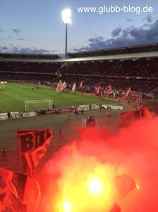 Pyro-Show der FCN-Fans im Max-Morlock-Stadion