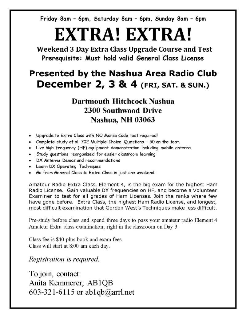 Fall 2016 Extra Ham Radio License Class Flyer