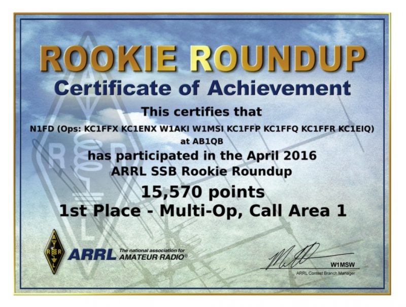 Operating Awards - N1FD Certificate from the 2016 ARRL Rookie Roundup SSB