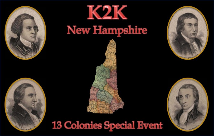 K2K New Hampshire 13 Colonies Special Event QSL Card