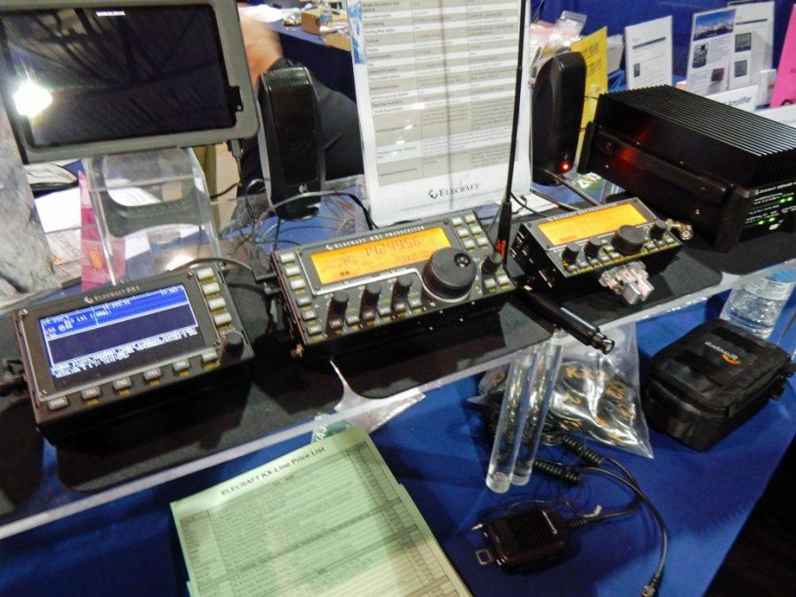 Elecraft KX2 on right, next to a KX3