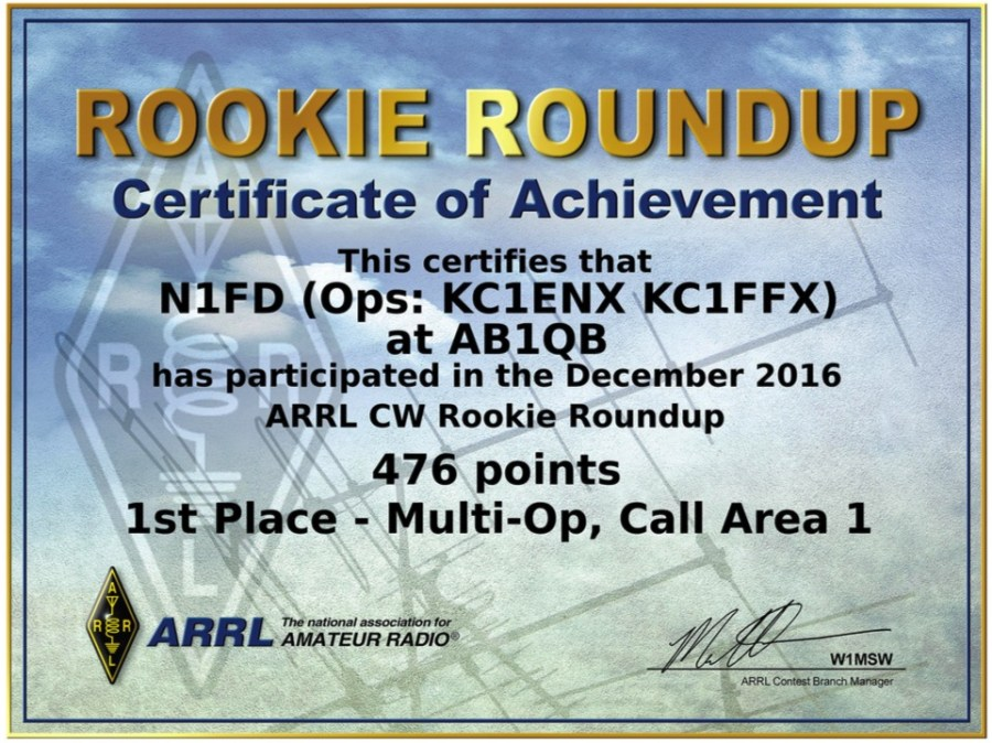 Operating Awards - 2016 ARRL Rookie Roundup CW Certificate