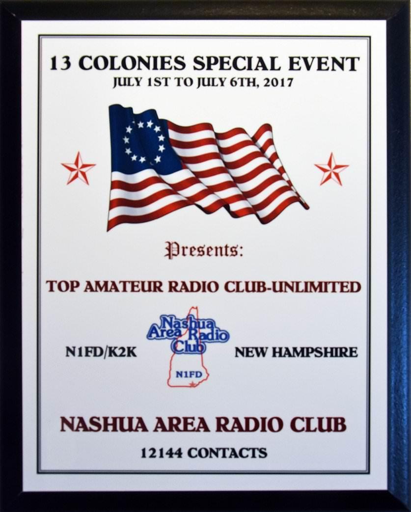 2017 Thirteen Colonies Top Club Plaque
