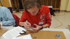 Connor at Tech Night - Building his Pixie Kit