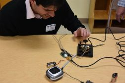 Brian at Tech Night -Testing His Pixie Kit