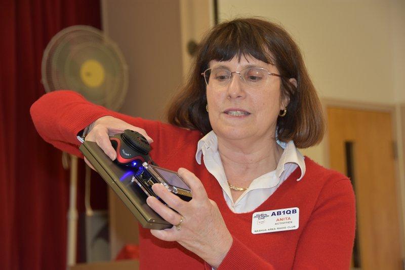 Anita, AB1QB Demonstrates her Raspberry Pi DX Alarm Clock at Project Night