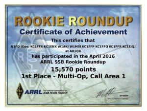 2016 ARRL Rookie Roundup SSB Certificate