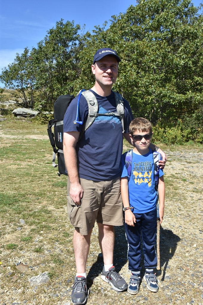 Brian, W1BP and son hiked to the summit