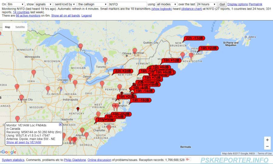 PSK Reporter map shows where we were heard on 6m FT8