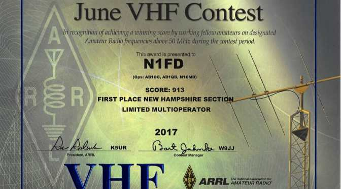 N1FD Multiop First Place in 2017 June VHF Contest from SOTA