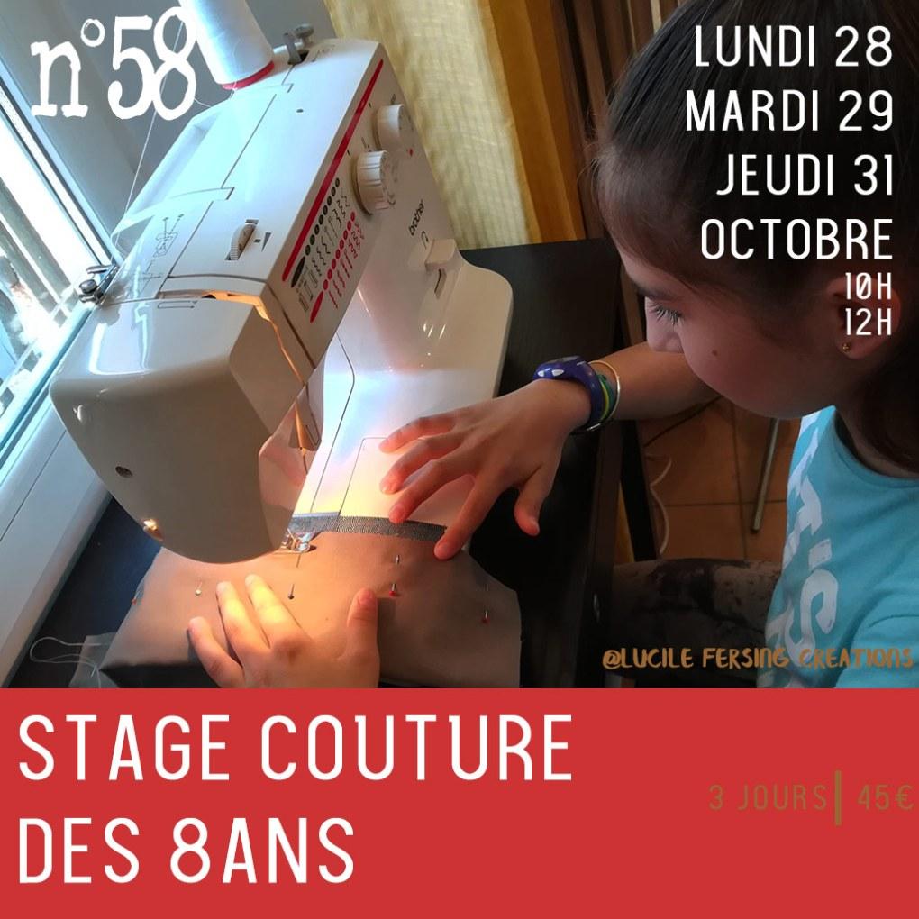 Stage enfants couture création d'accessoires textile machine à coudre