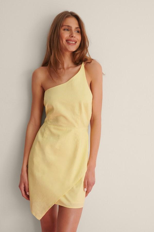 Dusty Yellow Linen Blend Mini Dress NA-KD
