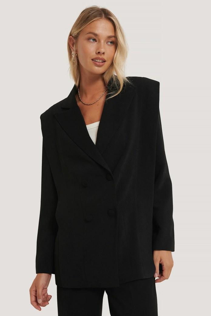 Black Jacket With Shoulder Pads
