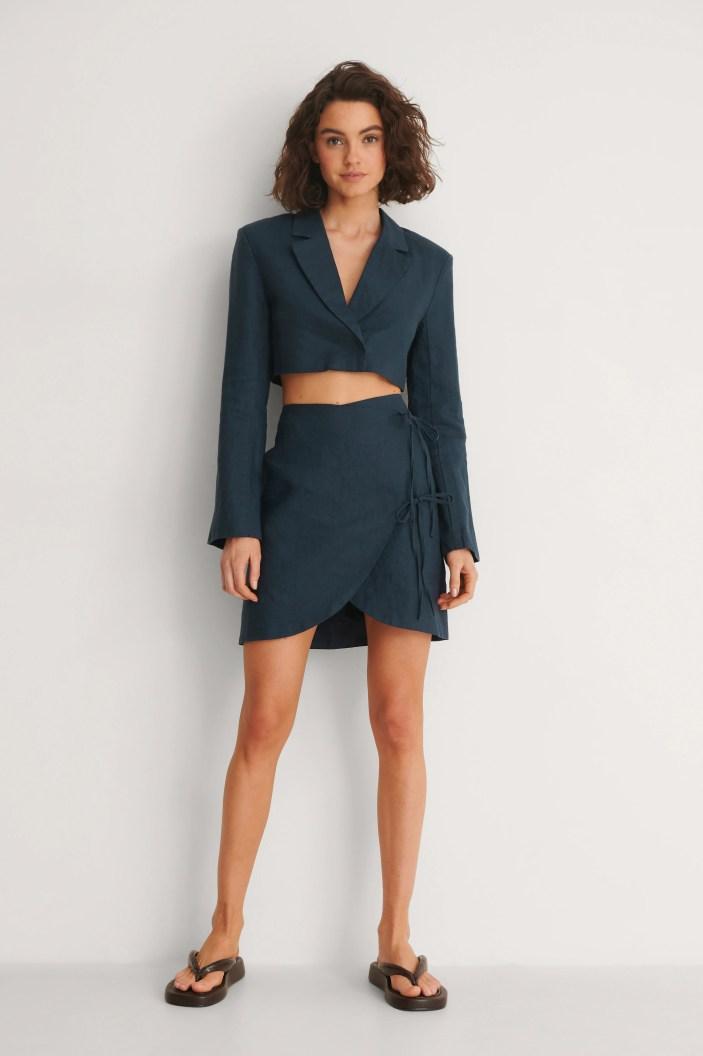 Navy Cropped Linen Blazer and Overlap Linen Skirt from NA-KD