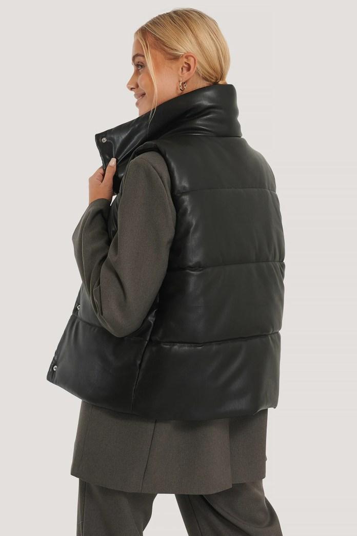 Black Padded Vest In Pu
