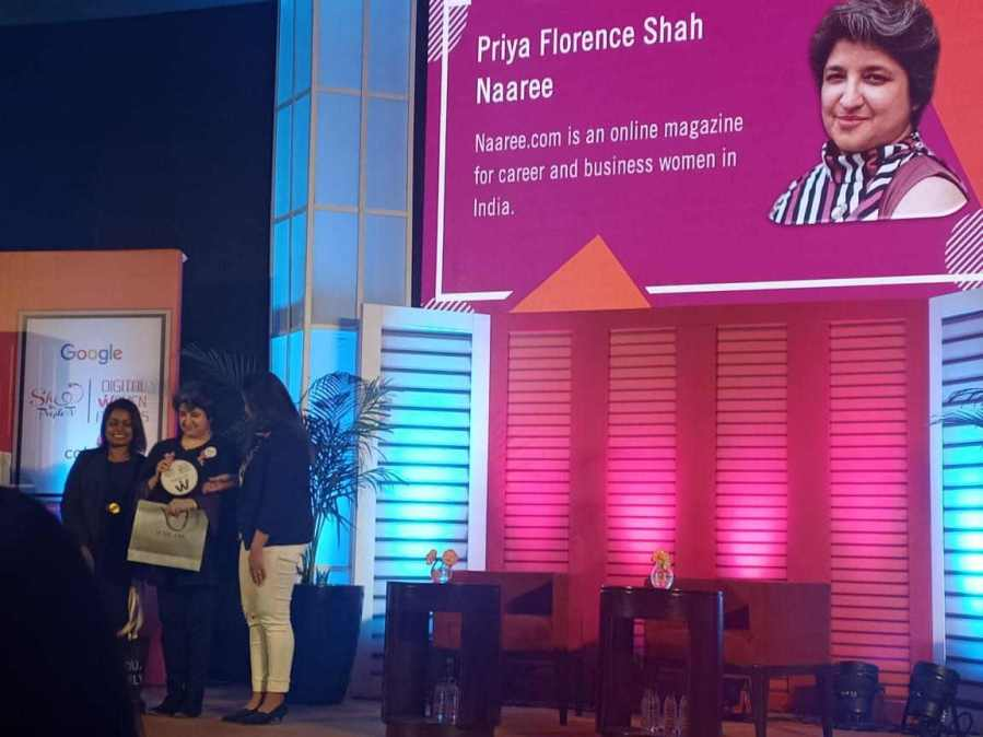 Priya Florence Shah wins the Digital Women Award in the Content Category for Naaree.com