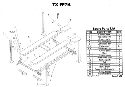 A breakdown list for the FP7K four post lift.