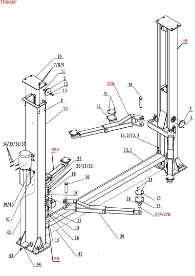 TP9KAF Parts Breakdown