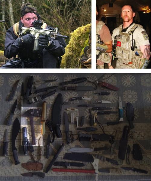 Oben links: Bissonnette (2001), oben rechts: O'Neill, dessen Feder-Tattoo die Anzahl seiner Kills symbolisiert, unten: die Winkler-Axt aus Bissonnettes persönlicher Sammlung. Quellen: U.S. Navy; U.S. Air Foto von Force Technical Sgt. Brian Snyder; Instagram