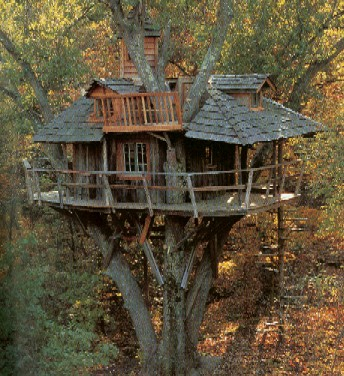 This treehouse, while impressive, is far too high off the ground to be safe for children.  Photo by Mark Pfister