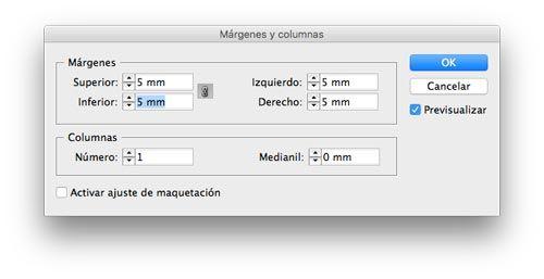 Configurando los márgenes internos en InDesign.