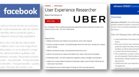 Ejemplos de ofertas publicadas para UX researchers