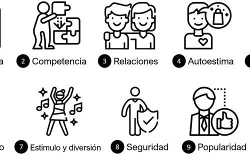 Autonomía, Competencia, Relaciones, Autoestima, Autorrealización, Desarrollo físico, Estímulo y diversión, Seguridad, Popularidad, Dinero y lujo
