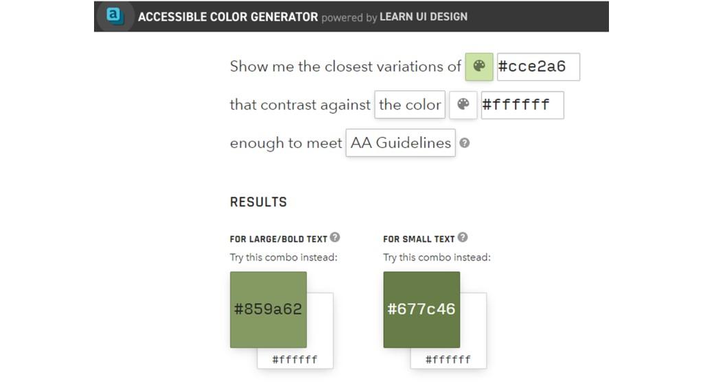 Pantallazo de Accessible color generator, que ofrece variaciones de colores que permiten cumplir las recomendaciones WCAG.