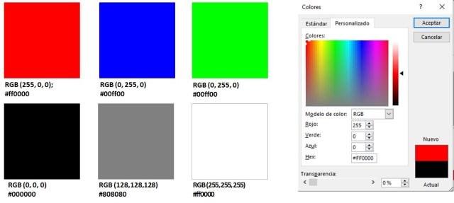 Muestra de colores primarios y gama de grises junto al selector de colores de Microsoft Office.