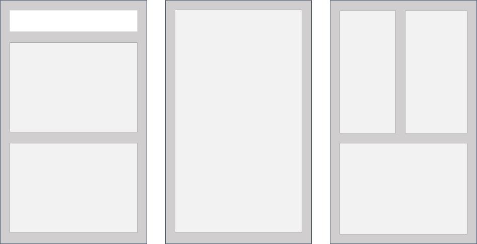 Contraste entre regiones de una página web. El contraste de color entre secciones ayuda a leer y navegar.