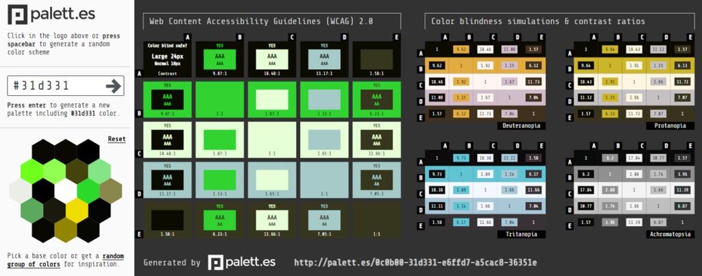 Pantallazo de palett, que ofrece combinaciones de colores accesibles y simuladores de ceguera al color.