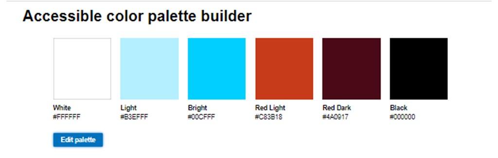 Pantallazo de Accessible color palette builder, que permite en un primer paso seleccionar los colores.