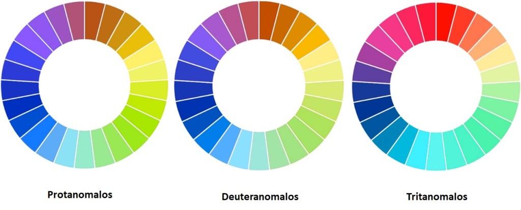 Simulación de los déficits de color de los tricrómatas anómalos: protanomalía, deuteranomalía y tritanomalía.