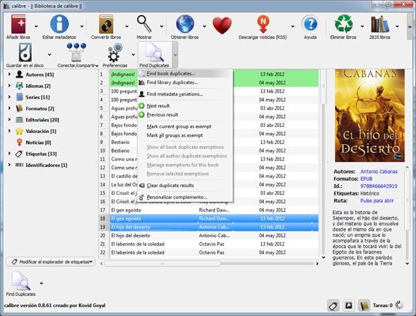 libros duplicados o repetidos en nuestra biblioteca virtual con calibre