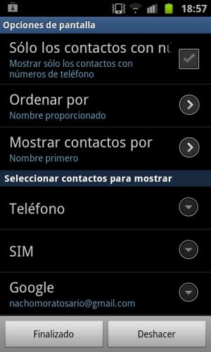 contactos de google contacts a mostrar