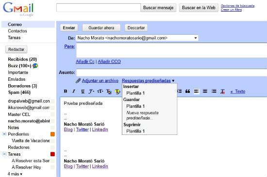 opciones de plantillas en gmail